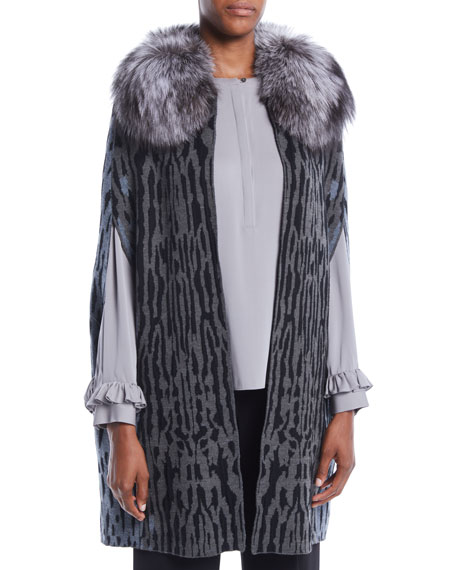 Kobi Halperin Colene Sweater w/ Detachable Fur Collar