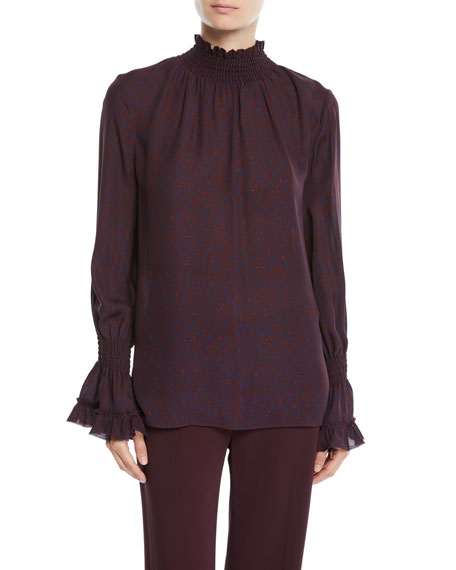 Colette Mock-Neck Blouse in Silk