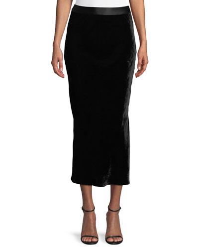 Crinkle Velvet Slip Midi Skirt