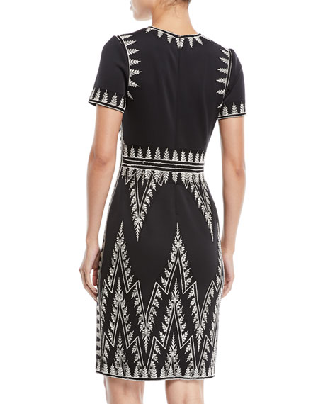 Short-Sleeve Chevron-Embroidered Cocktail Dress