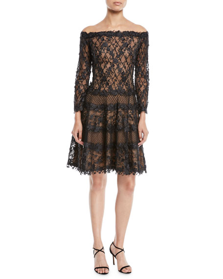 Floral Embellished Off-The-Shoulder Dress, Black/ Nude