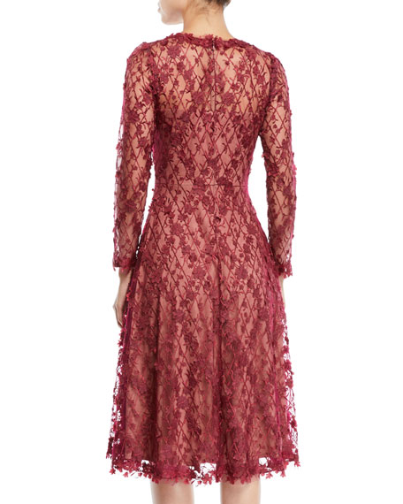 3D Lace Dress w/ Long Sleeves