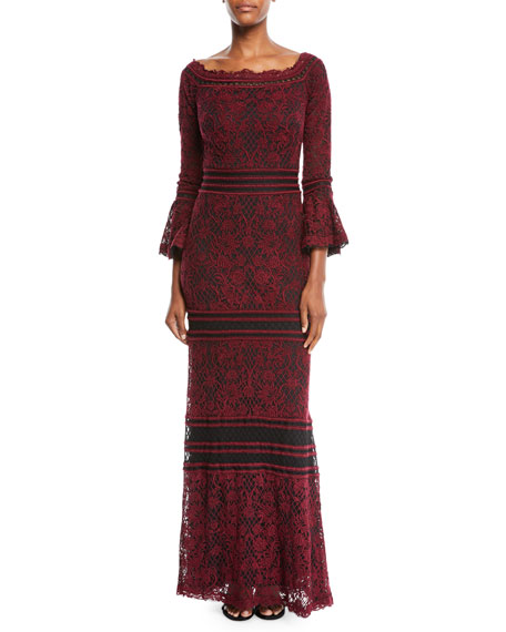 TADASHI SHOJI Off-The-Shoulder Lace Gown W/ Bell Sleeves in Autumn/ Black
