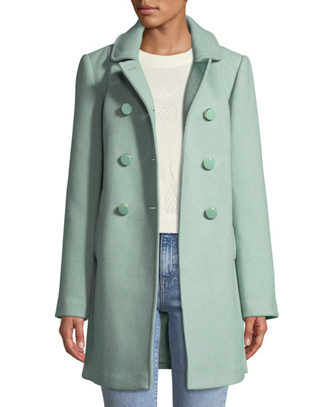 kate spade new york wool twill double-breasted coat