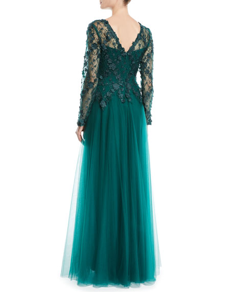 3D Lace Gown w/ Flowy Skirt