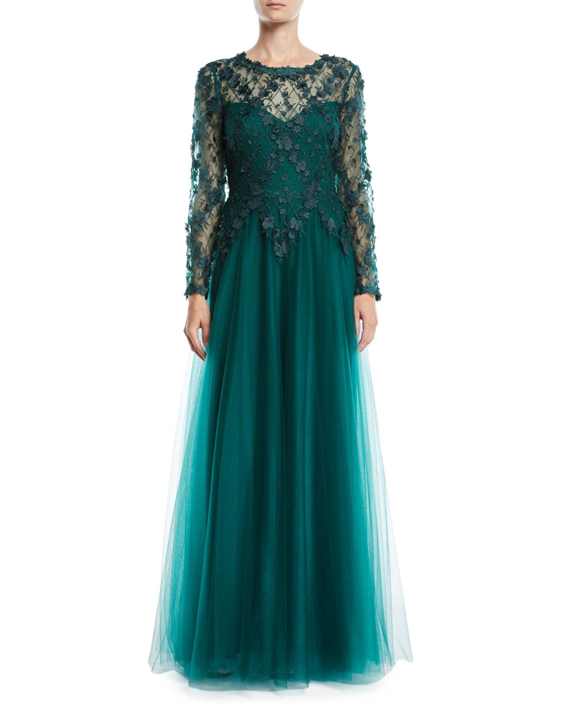 ad12b6827338 Tadashi Shoji 3D Lace Gown w  Flowy Skirt