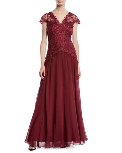 Cap-Sleeve 3D Floral Gown