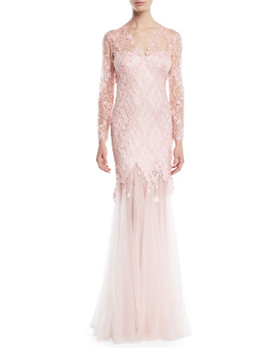 Long-Sleeve Lace Gown w/ 3D Appliqué