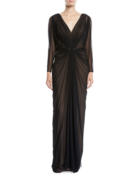 Long-Sleeve Ruched V-Neck Gown w/ Beading