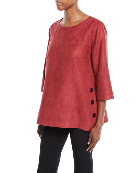 Caroline Rose Modern Sueded Fabric Tunic with Button