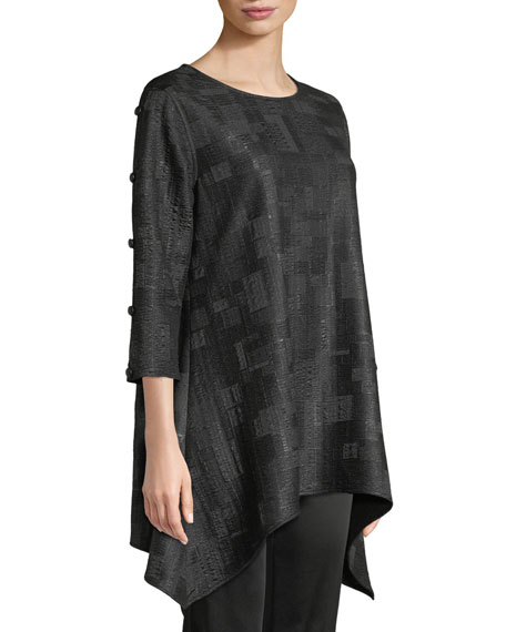 Cubic Knit Side-Fall Tunic, Plus Size