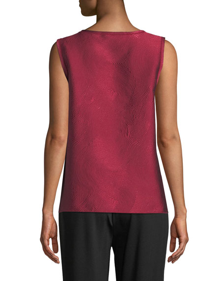 Zen Garden Easy-Fit Swirl-Stitch Jacquard Tank, Plus Size