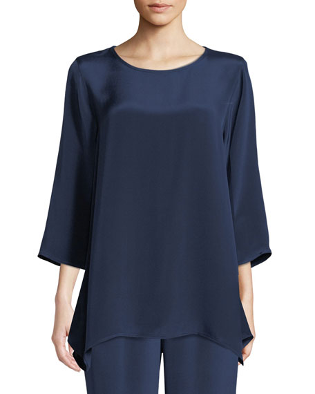 Round-Neck 3/4-Sleeve Silk Crepe Swing Tunic Top