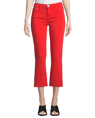 The Kick Flare-Leg Cropped Jeans with Cut Hem