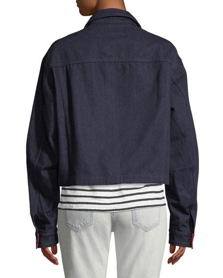 Collin Cropped Colorblock Denim Jacket