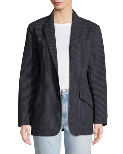 Late Night Striped Button-Front Blazer