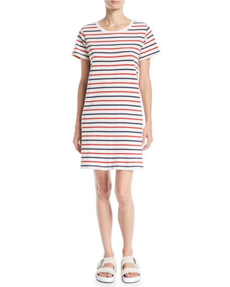 Current/Elliott The Beatnik Striped Short-Sleeve Tee Dress