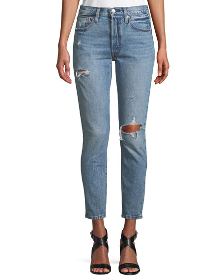 501 Distressed Ankle Skinny Jeans