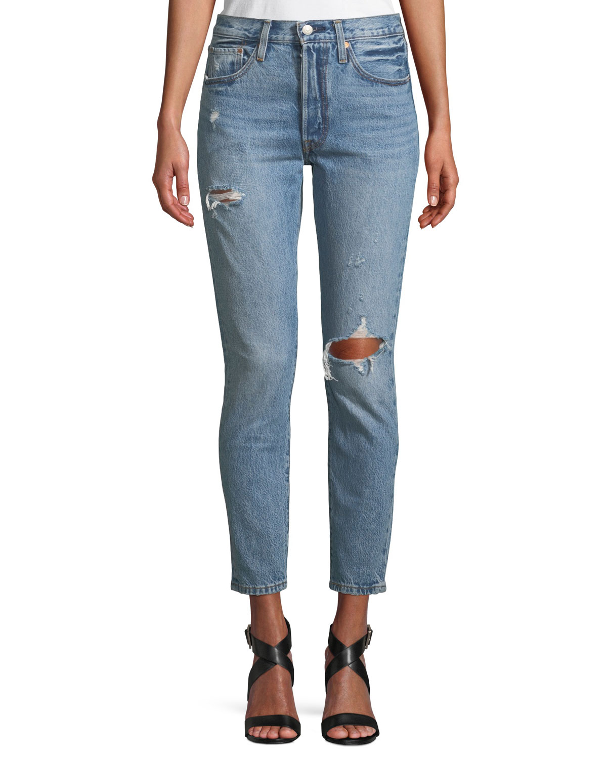 70a4b98ffdc Levi's Premium 501 Distressed Ankle Skinny Jeans | Neiman Marcus