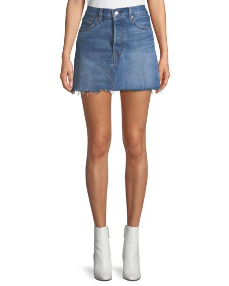 Deconstructed Frayed Denim Mini Skirt