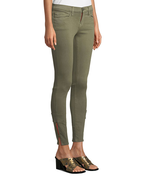 Mid-Rise Skinny Cargo Jeans w/ Zipper Cuffs