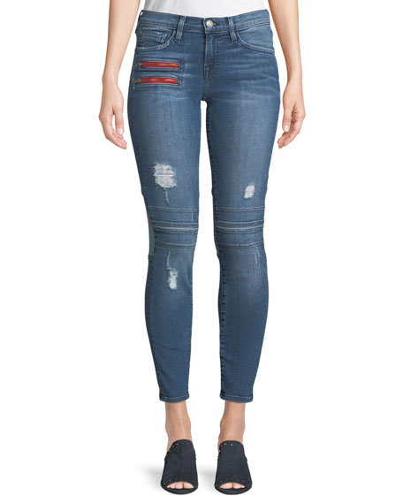 ETIENNE MARCEL Two-Tone Frayed Skinny Jeans W/ Zippers in Blue Pattern