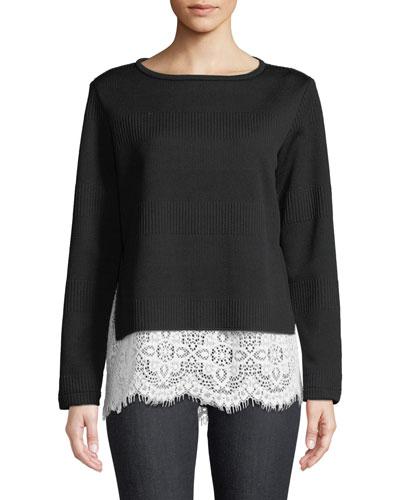 Wendy Round-Neck Long-Sleeve Rib-Knit Sweater w/ Lace Hem