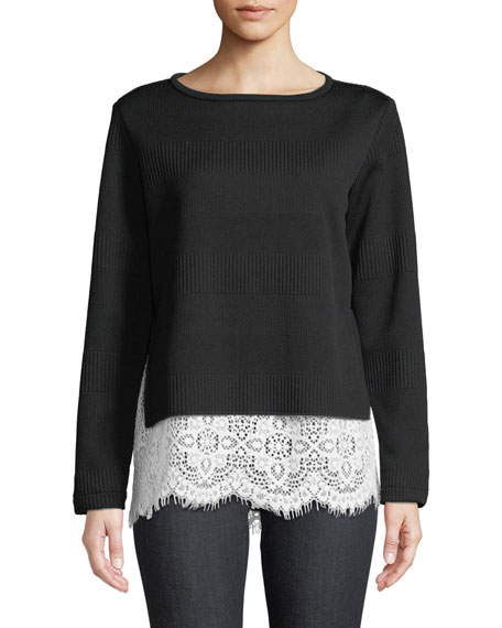 Finley Wendy Round-Neck Long-Sleeve Rib-Knit Sweater w/ Lace