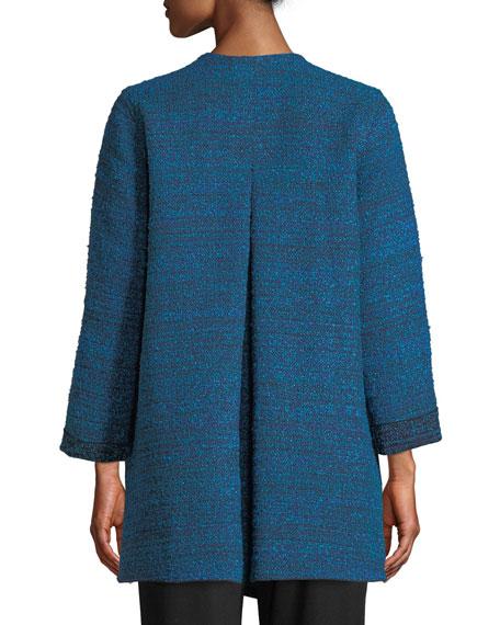 Free-Flowing Full-Sleeve Tweed Saturday Topper Jacket, Plus Size