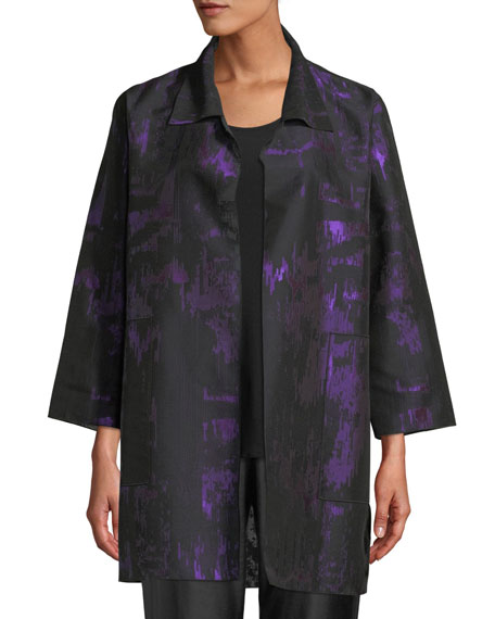 Caroline Rose Moon Shadow Jacquard Open Shirt Jacket