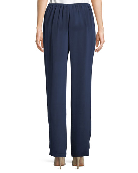 Straight-Leg Silk Crepe Pull-On Pants