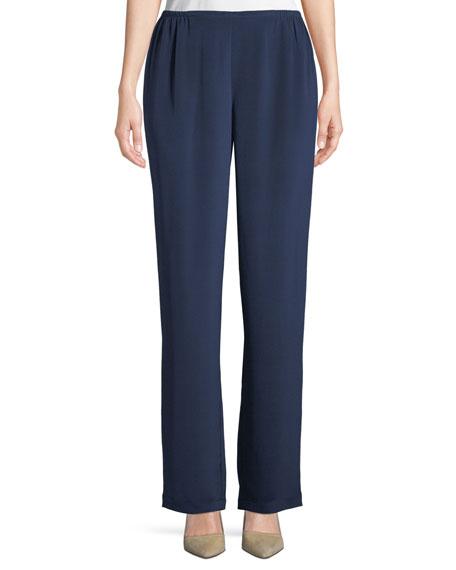 Straight-Leg Silk Crepe Pull-On Pants