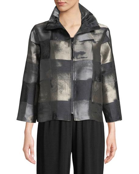 Squaring Off Zip-Front Graphic Jacquard Crop Jacket