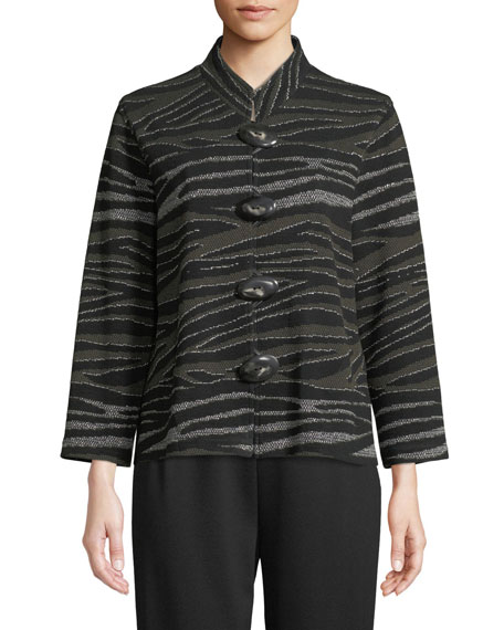 Howl At The Moon Mandarin-Collar Easy-Fit Textured Metallic Knit Jacket