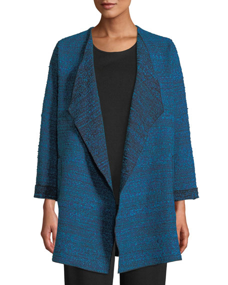 Caroline Rose Free-Flowing Full-Sleeve Tweed Saturday Topper