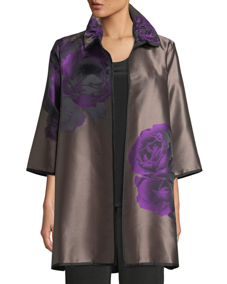 Caroline Rose Violet Rose Jacquard Topper Jacket, Plus
