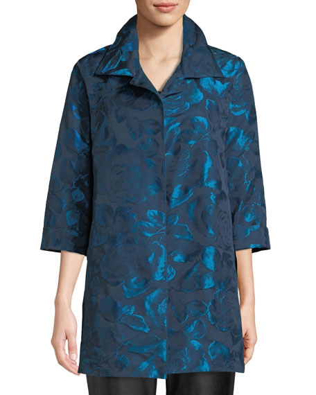 Blue Becomes You Floral Jacquard Party Jacket, Plus Size