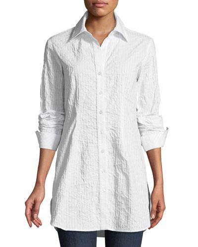 Kaylynn Button-Front Long-Sleeve Crinkle Tonal-Striped Shirt