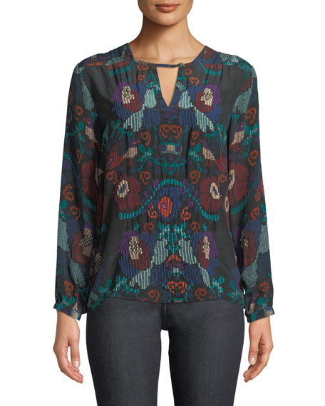 Tolani CAITLYN LONG-SLEEVE MULTICOLOR EMBROIDERED BLOUSE