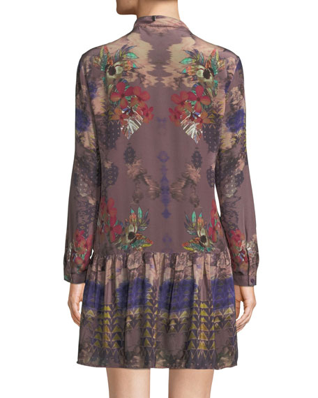 Rory V-Neck Mixed-Print Flounce-Hem Floral-Print Silk Tunic Dress