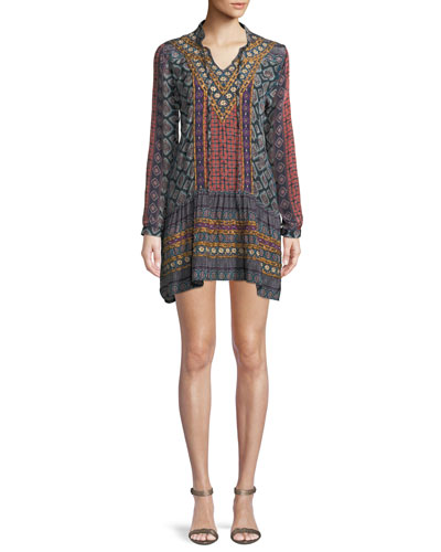 Rory V-Neck Mixed-Print Flounce-Hem Tunic Dress w/ Embroidery
