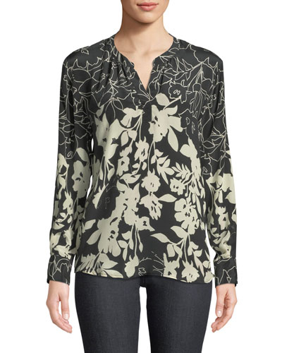 Everly Long-Sleeve Floral-Print Silk Blouse, Plus Size