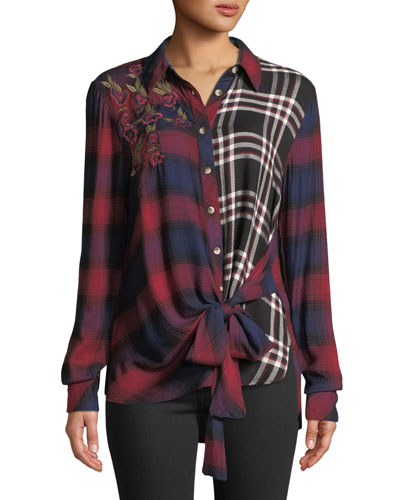 Carey Button-Front Long-Sleeve Tie-Front Mixed-Plaid Blouse w/ Floral-Embroidery