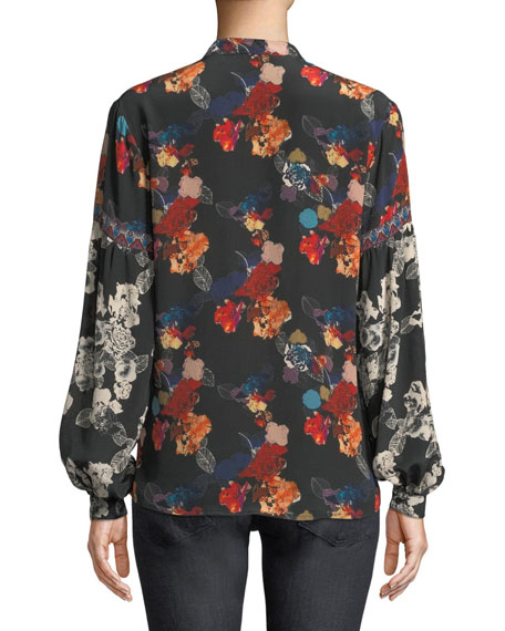 Swanna Mandarin-Neck Mixed Floral-Print Silk Blouse, Plus Size