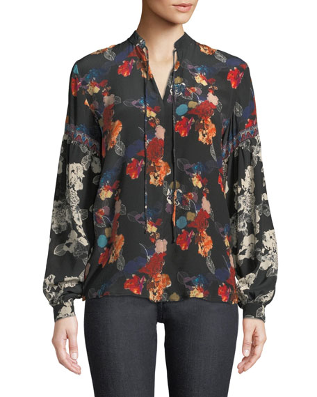 Plus Size Swanna Mandarin-Neck Mixed Floral-Print Silk Blouse