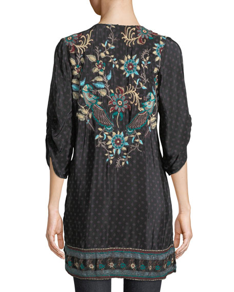 Nicoli Tassel-Tie Ruched-Sleeve Printed Floral-Embroidered Tunic Dress, Plus Size