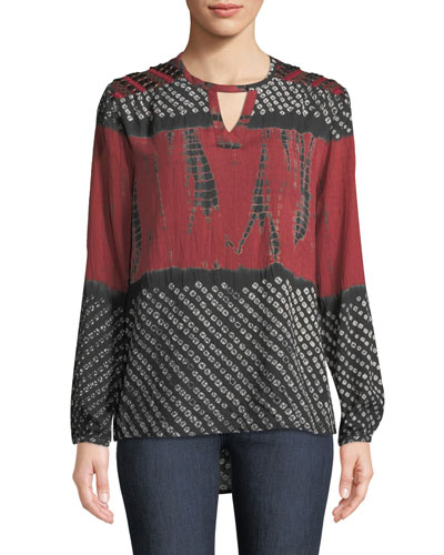 Caitlyn Long-Sleeve Tie-Dye Print Blouse w/ Embroidered Detail