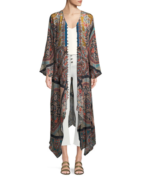 Clara V-Neck Button-Front Long-Sleeve Mixed-Print Maxi Dress w/Handkerchief Hem