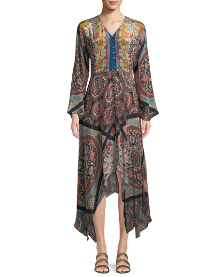 Tolani Clara V-Neck Button-Front Long-Sleeve Mixed-Print Maxi