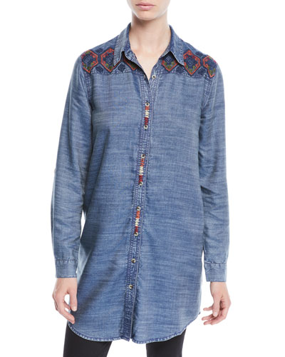 Tina Button-Front Long Chambray Tunic w/ Embroidery